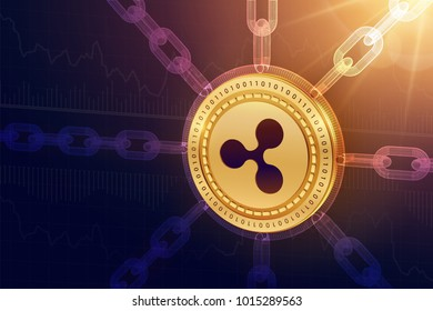 Ripple. Crypto currency. Block chain. 3D isometric Physical Ripple coin with wireframe chain. Blockchain concept. Editable Cryptocurrency template. Stock vector illustration