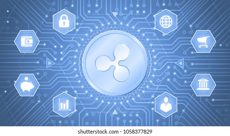 Ripple Cryptocurrency. Metallic coin with the Ripple symbol on it in electronic cyberspace. Graphic template on the subject of `Digital Currencies`.