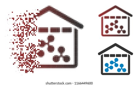 Ripple depository icon in sparkle, dotted halftone and undamaged solid versions. Fragments are organized into vector sparkle Ripple depository pictogram.