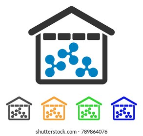 Ripple Depository icon. Vector illustration style is a flat iconic ripple depository symbol with gray, yellow, green, blue color variants. Designed for web and software interfaces.