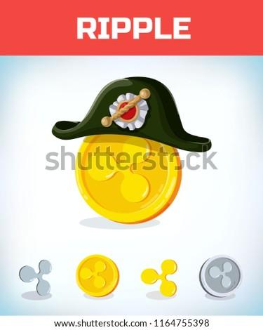 Ripple French Napoleon Tricorn Hat Ripple Stock Vector Royalty Free