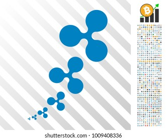 Ripple Inflation icon with 7 hundred bonus bitcoin mining and blockchain graphic icons. Vector illustration style is flat iconic symbols designed for cryptocurrency apps.