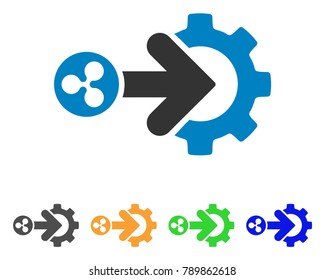 Ripple Integration Gear icon. Vector illustration style is a flat iconic ripple integration gear symbol with grey, yellow, green, blue color variants. Designed for web and software interfaces.