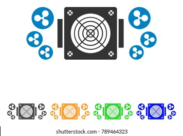 Ripple Mining Asic Device icon. Vector illustration style is a flat iconic ripple mining asic device symbol with grey, yellow, green, blue color versions. Designed for web and software interfaces.