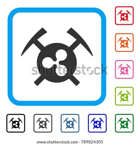 Ripple Mining Hammers Icon Flat Grey Stock Vector (Royalty