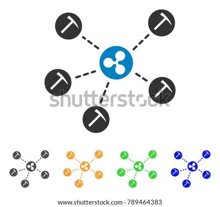 Ripple Mining Network Icon Vector Illustration Stock Vector