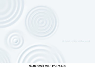 Ripple rounds background. Milk puddles surface, top view cosmetic cream circles. Lotion or dairy product swirl, white dip vector banner