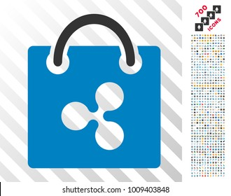 Ripple Shopping Bag icon with 7 hundred bonus bitcoin mining and blockchain clip art. Vector illustration style is flat iconic symbols designed for cryptocurrency apps.