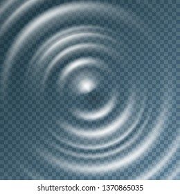 Ripple, splash water waves surface from drop isolated on transparent background. White sound impact effect top view. Vector circle ripple water, liquid or swirl round texture template.