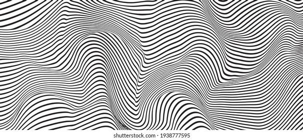 Ripple texture black and white curve lines background vector design. Wave oblique smooth lines optical effect pattern. Monochrome gray scale wave curves texture, black ripple on white.