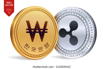 Ripple. Won. 3D isometric Physical coins. Digital currency. Korea Won coin. Cryptocurrency. Golden and silver coins with Ripple and Won symbol isolated on white background. Vector illustration.