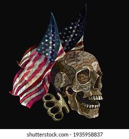 Drapeau américain déchiré, crâne humain et bottes de laiton. Style de culture de rue. Modèle de mode pour le design. L'art de l'halloween gothique foncé