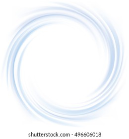 Rippled curvy cyan fond. Eddy volute fluid gentle azure color with space for text in glowing soft shiny center