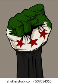 rise up and fight of aleppo, or hand fist illustration