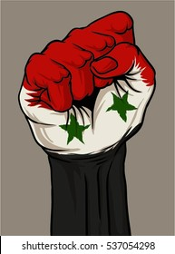 rise up and fight, or hand fist with syria flag