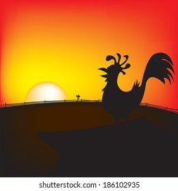 Rise & shine rooster at dawn