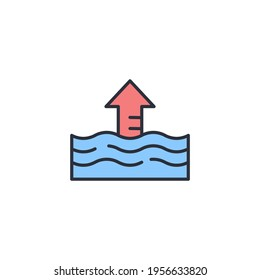 Rise in water level icon isolated on white background. Vector
