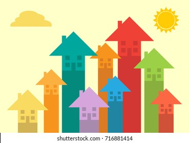 Rising colourful arrows that turn into house shapes with windows to symbolize property market rising.