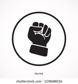 Rising hand fist vector illustrtion. Protest, rebel, independence, power or freedom symbol.