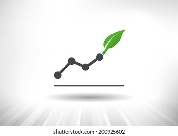 Rising line chart ending with green leaf. Background and chart on separate layers.
