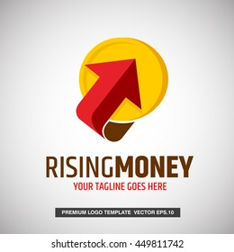 Rising money. Arrow Logo Concept. Can use for Business Logo, Finance Logo, Investment Logo and money Changer company. Vector Eps.10