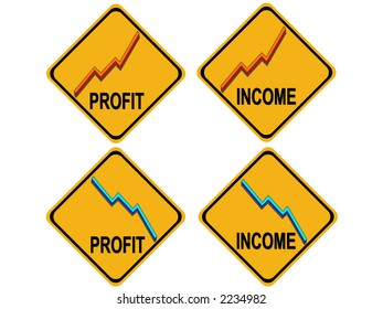 rising profits falling income warning sign with graphs