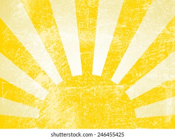 Rising or setting sun with sun rays in yellow. Vector
