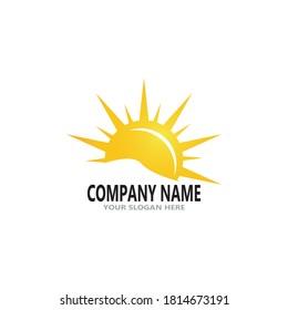 Rising sun logo vector template illustration