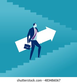 Rising up. Businessman holding an arrow sign, rising up the stairs. Vector concept illustration.