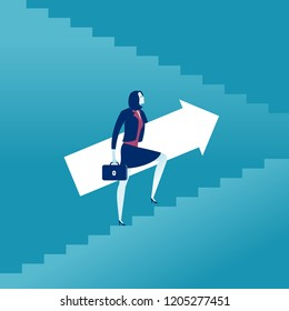 Rising up. Career progression. Businesswoman rising up the stairs holding an arrow sign. Vector concept illustration.