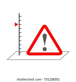 risk assessment concept symbolizing with scale and hazard sign