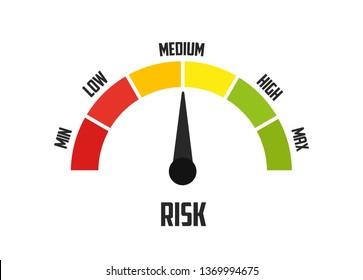 Risk concept on speedometer. Vector icon vector illustration concept image icon