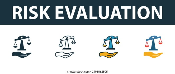 Risk Evaluation icon set. Four elements in diferent styles from insurance icons collection. Creative risk evaluation icons filled, outline, colored and flat symbols.