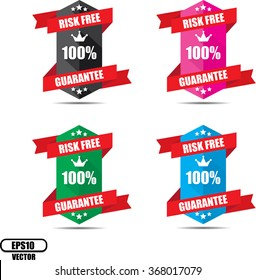 Risk free 100% guarantee label and sign - Vector illustration