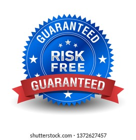 Risk free guaranteed, with blue badge and red ribbon.
