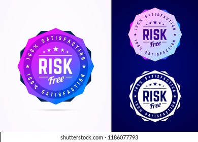 Risk free round badge. Vector sign in trendy gradient style in three color variants for product, internet, web services.