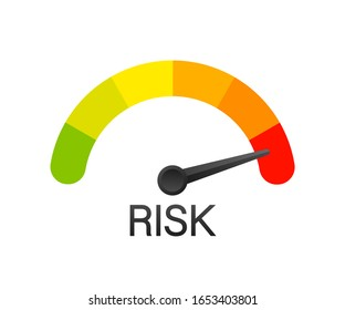 Risk icon on speedometer. High risk meter. Vector stock illustration.
