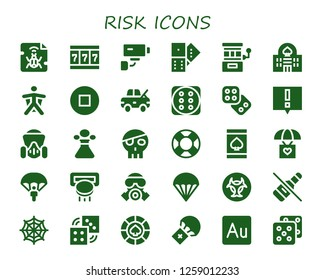 risk icon set. 30 filled risk icons. Simple modern icons about  - Malware, Slot machine, Security camera, Domino, Casino, Wingsuit, Stop, Damage, Dice, Alert, Gas mask, Poison