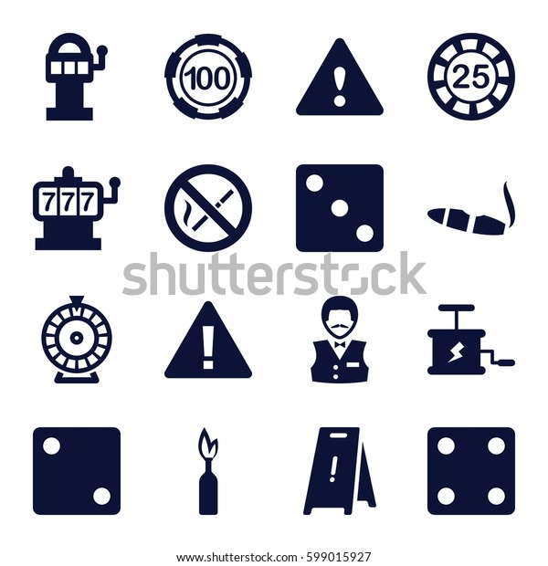 risk icons set. Set of 16 risk filled icons such as Slot machine, 25 casino chip, 100 casino chip, Dice, Roulette, Casino boy, cigarette, wet floor, warning, no smoking