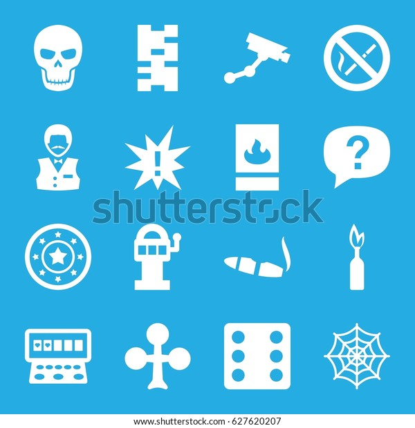 Risk icons set. set of 16 risk filled icons such as Clubs, Casino chip, Dice, Security camera, Casino boy, cigarette, Slot machine, spider web, fire protection, no smoking