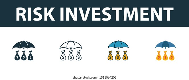 Risk Investment icon set. Four elements in diferent styles from risk management icons collection. Creative risk investment icons filled, outline, colored and flat symbols.