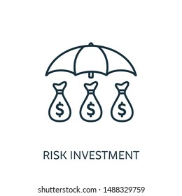 Risk Investment outline icon. Thin line concept element from risk management icons collection. Creative Risk Investment icon for mobile apps and web usage.