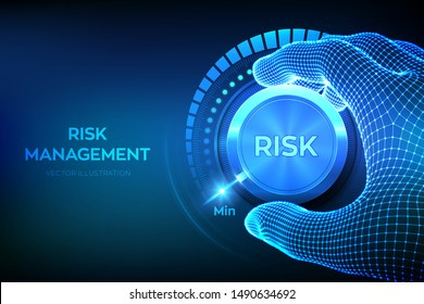 Risk levels knob button. Wireframe hand turning a risk level knob to the minimum position. Risk management business concept. Vector illustration.