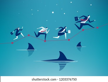 Risk Management. Business team running on graph over water with floating sharks. Concept business illustration