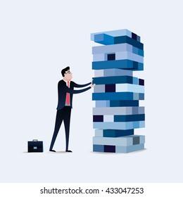Risk management. Businessman gambling placing block stack on a tower. Business concept illustration vector