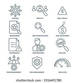 risk management  icon, line, outline vector sign, linear style pictogram isolated on white. Symbol, logo illustration