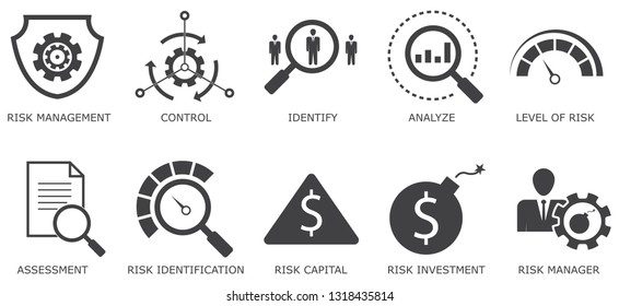 risk management simple concept icons set. Contains such icons as control, identify, Level of Risk, analyze and more, can be used for web, logo, UIUX - Vektör