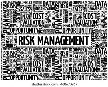 RISK Management word cloud collage, business concept background