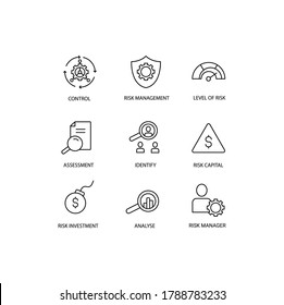 Risk managment simple thin line icon vector illustration. Control business,  level of risk, assesment, identify, risk capital, investment, analyse, risk manager.