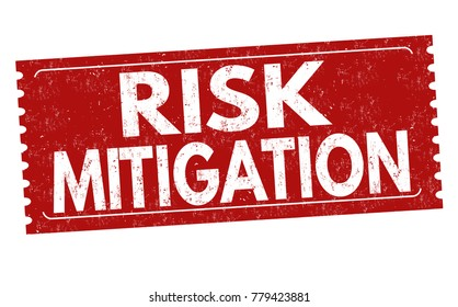 Risk mitigation grunge rubber stamp on white background, vector illustration